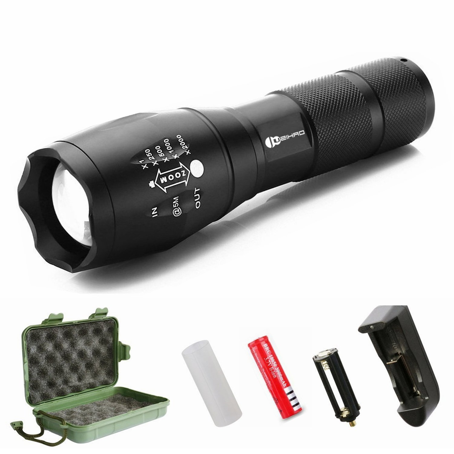 Juzihao JM-T6 Super Bright 1000 Lumens 5 Modes Mini CREE LED Zoomable Flashlights, Water Resistant Portable Camping Torch Light Tactical Flashlight - Rechargeable 18650 Batteries and Charger Included