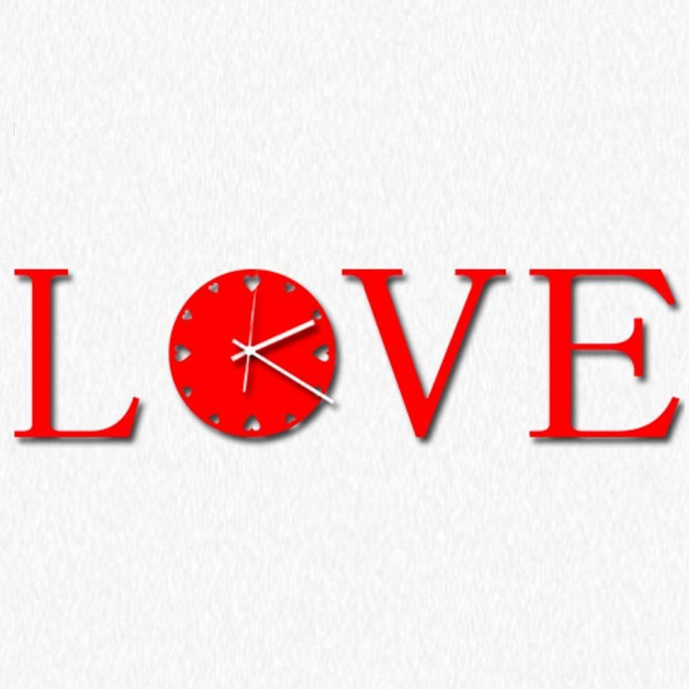 TONPAR Modern minimalist art wall clock clock mute LOVE clock , red
