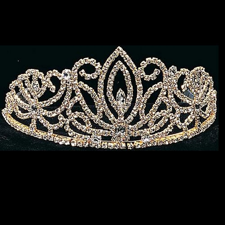 Girls Gold 4in Rhinestone Pageant Quinceanera Communion Tiara Headpiece