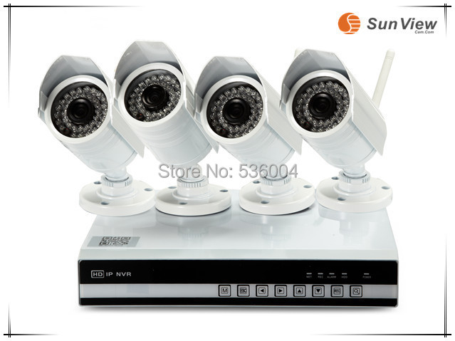 4ch CCTV NVR KIT 1080P 2.0mp full-HD IP Camera wireless wifi with Network video recorder P2P Home alarm video push Security