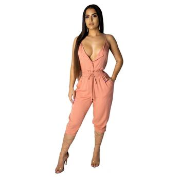 Women's V Neck Spaghetti Strap Drawstring Waisted Long Pants Jumpsuit Rompers