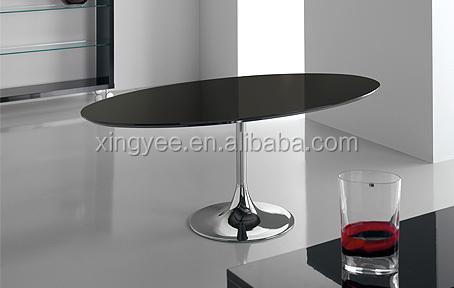 Zwarte Eetkamer Tafel.Moderne Woonkamer Verchroomd Staal Base Frame Zwarte Ronde Ovale