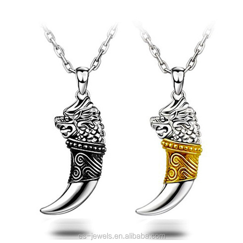 Fashion stars favorite jewelry mens stainless steel wolf tooth necklace pendant