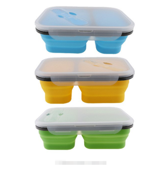Silicone Collapsible Portable Lunch Box Large Capacity Bowl Lunch Bento Box Folding Lunchbox Eco-Friendly