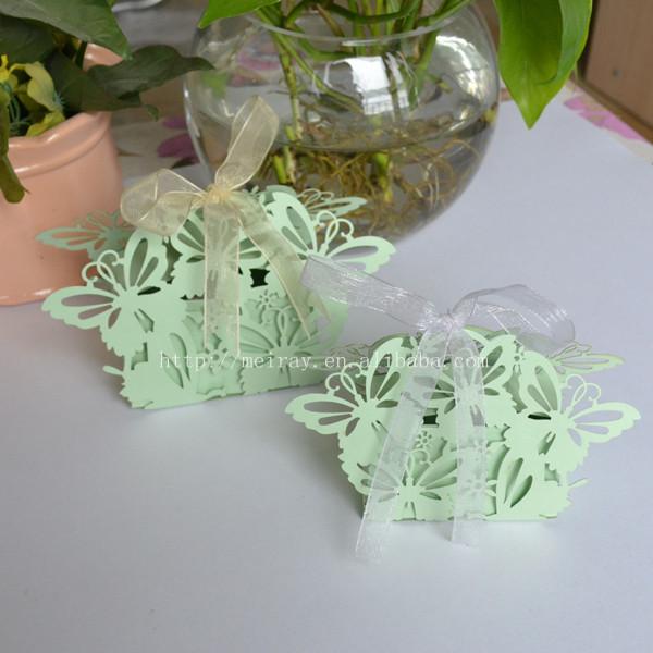 corte laser caja de menta verde de la mariposa de papel adornos para bodas wedding