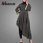 2019 Hot Selling Stripe Design Muslim Clothing Simple Unique Islamic Casual Clothing Kebaya Dress