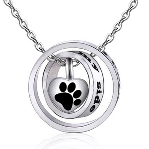 Pet Cat Dog Paw Cremation Jewelry for Ashes Wearable Urn Necklace Keepsake Memorial Pendant for Women Men