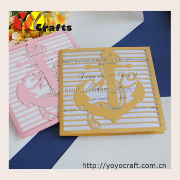 Baby Shower Favors Golden Boat Anchor Laser Cut Unique Christening