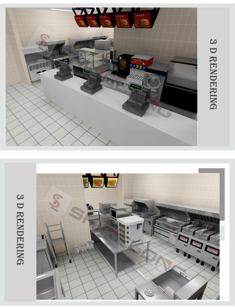 Quality assured commercial fast food burger restaurant for Cuisine commerciale equipement