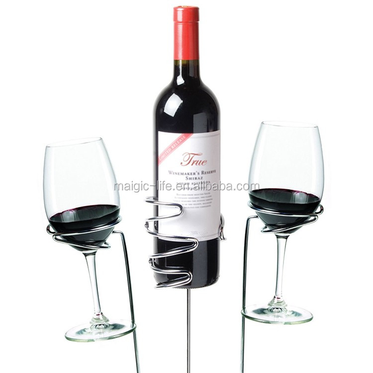 Family outdoor picnic accessories stainless wine glass holder and wine bottle holder