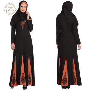 Women Ladies Black Abaya Dress Beautiful Long Sleeve Maxi Muslim Evening Dress