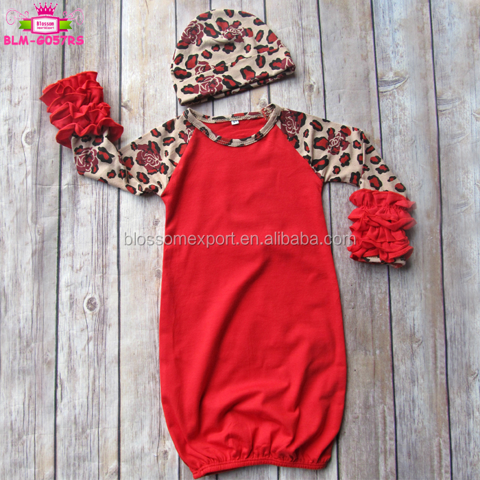 0-2 Years Xmas Newborn Baby Sleepsuit Blank Long Sleeve Icing Ruffle Raglan Black And Red Christmas Buffalo Plaid Baby Gown