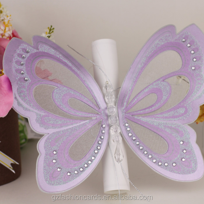 2015 Hot Sales Die Cut Printable Purple Butterfly Scroll Wedding – Butterfly Wedding Invite