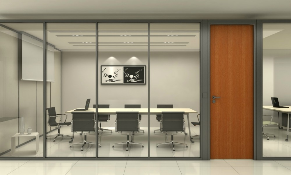 Aluminum Sliding Wall Partitions Office Furniture Frosted Glass