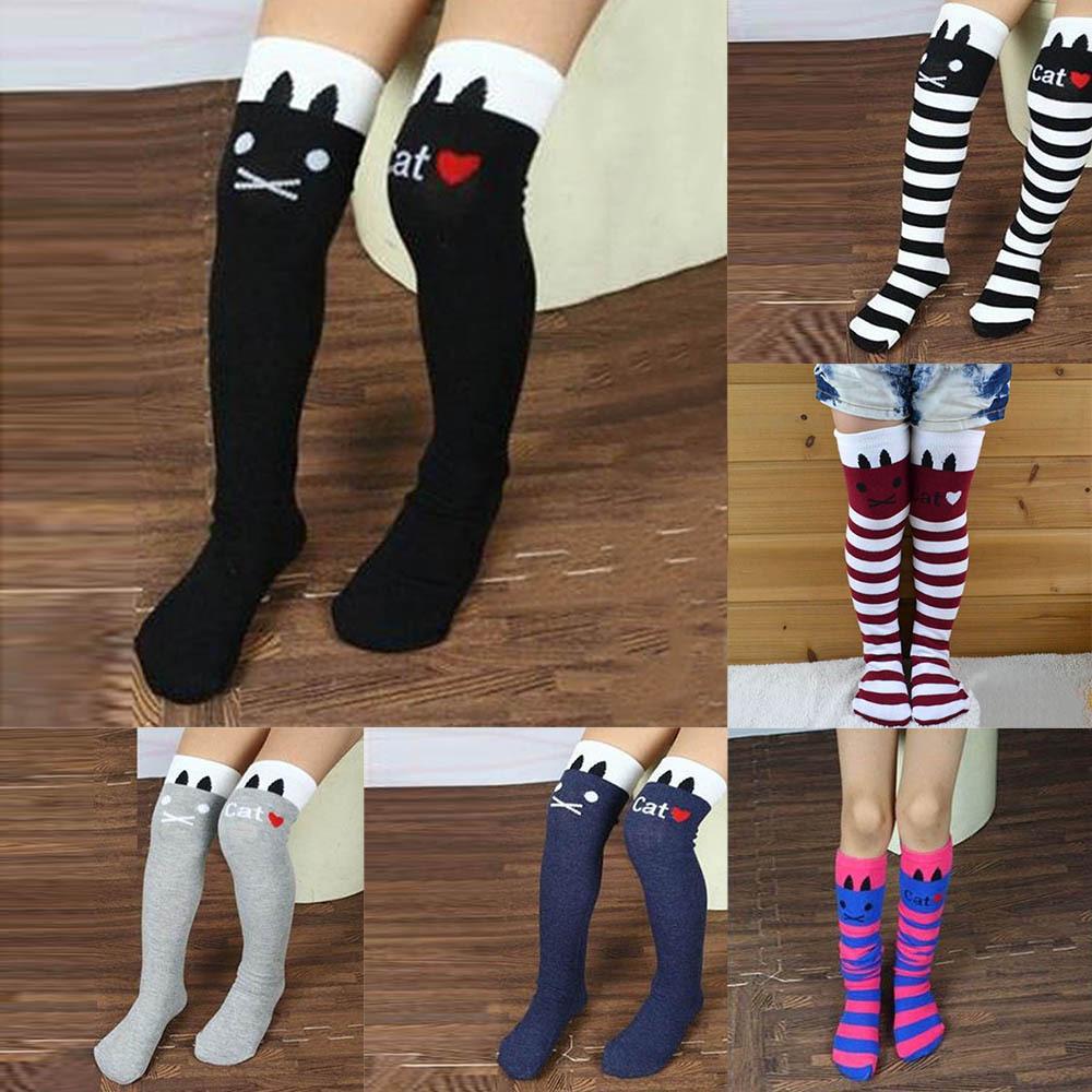 c86ff2223 New Cotton Knee High Socks Children In tube Socks Striped knee girls  Straight Colorful Socks