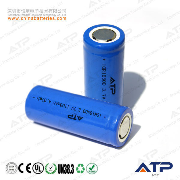 Lithium Ion Icr18500 1100mah / Rechargeable Li Ion Battery 18500 ...