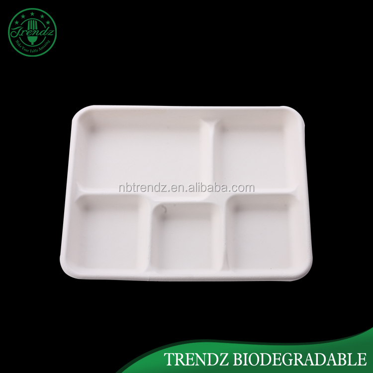 School lunch tray pulp sugarcane paper food tray with 5 compartments
