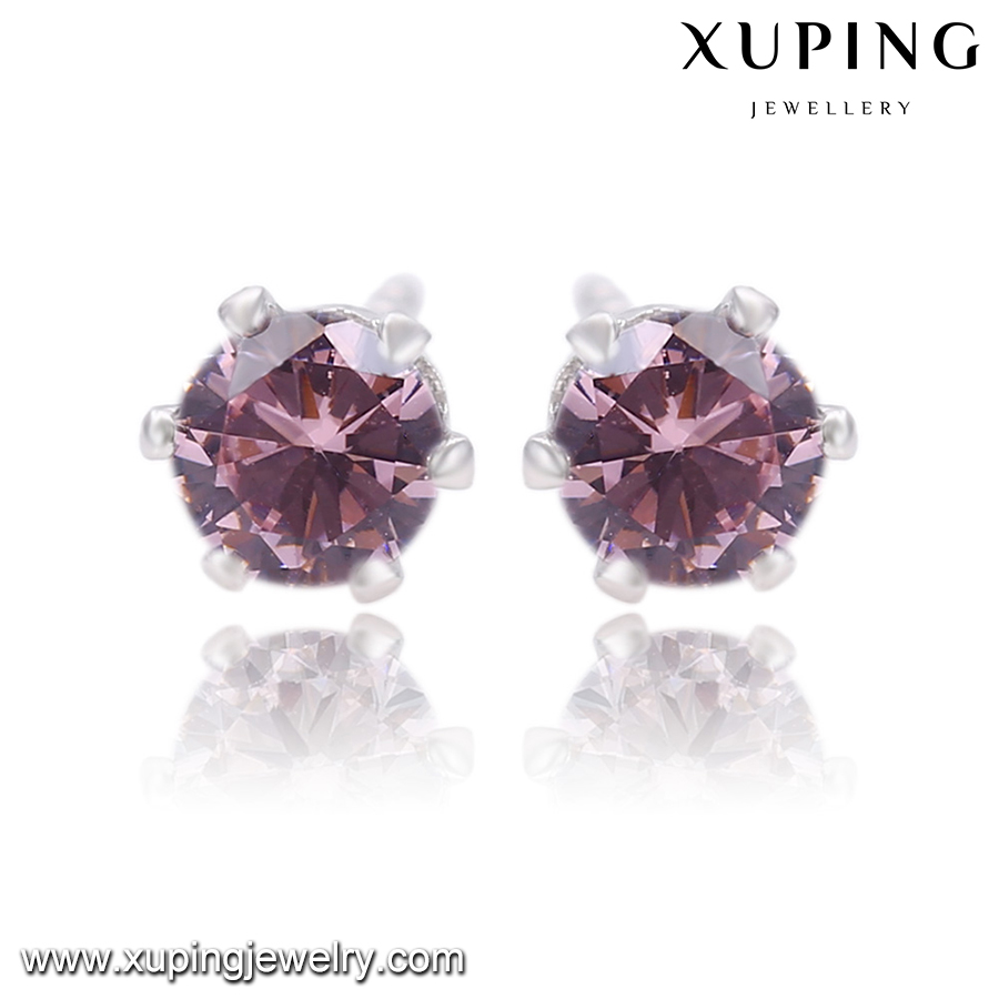 26728 Xuping 4mm pink crystal handmade gold earrings,jacket earrings,latest artificial earrings