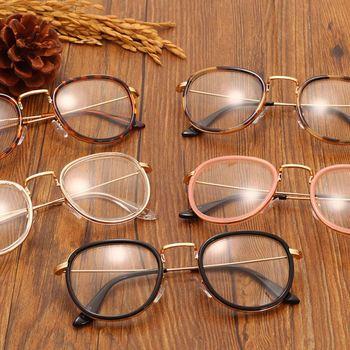 862741727364 Black Leopard Tea Vintage Clear Lens Eyeglasses Frame Retro Round Men Women  Eyewear Nerd Glasses