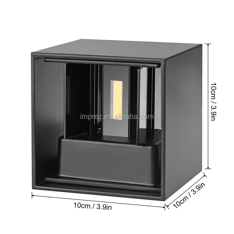 12W einstellbare Oberfläche montiert Outdoor Cube Led Wandleuchte IP65 Up Down Wall Porch Lampe