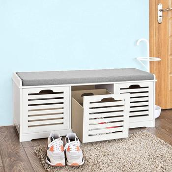Wooden Shoe Storage Bench With 3 Drawers Seat Cushion Buy Wooden
