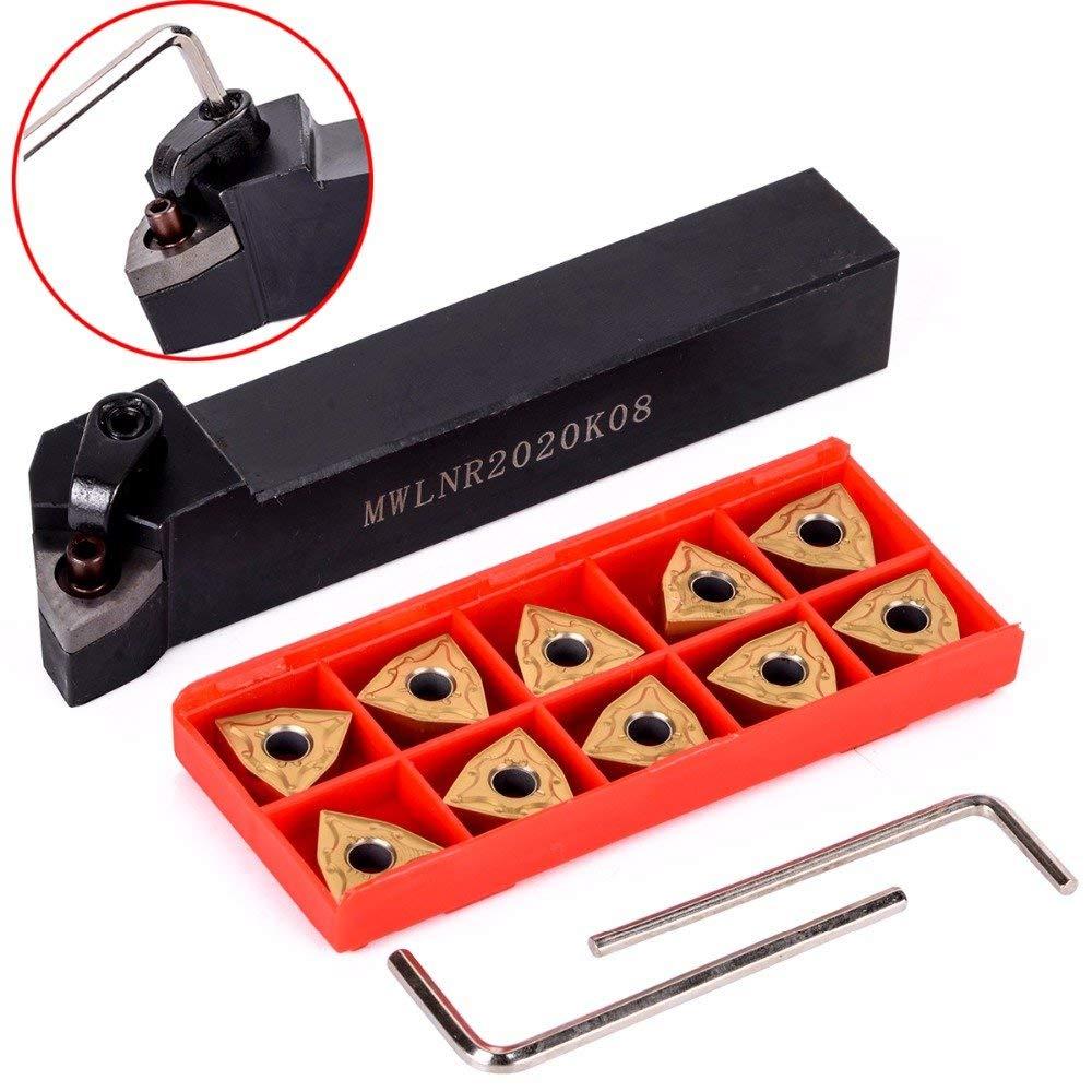 10pcs WNMG080404 Carbide Insert + MWLNR2020K08 Holder + Wrench