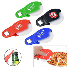 Creative brand logo multi-function compact portable kitchen utensil set cheese cake cutter pasta pizza slicer with bottle opener