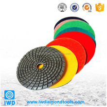 Both wet and dry diamond hand polishing pads for granite slabs and concrete floors