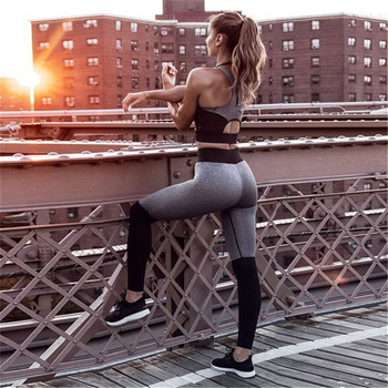 Fitness Workout Clothing Women's Gym Sports Running Slim Leggings and Tops Yoga Sets