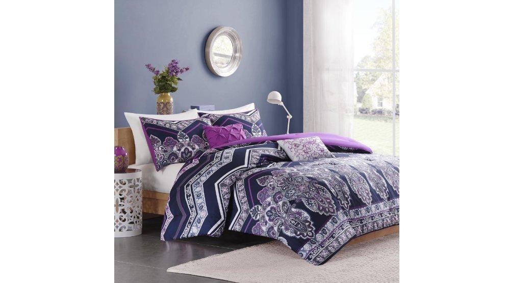 4 Piece Girls Navy Blue Purple Medallion Theme Chevron Comforter Twin XL Set, Girly All Over Damask Floral Zigzag Bedding, Multi Boho Chic Bohemian Zig Zag Motif Themed Pattern, Plum Violet Off White