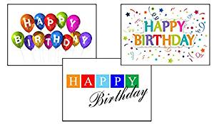 Birthday Greeting Card Assortment - VP1601. Greeting Cards Featuring 3 Different Business Birthday Cards. Box Set Has 25 Greeting Cards and 26 Sky Blue, Orange or Lime Green Colored Envelopes.
