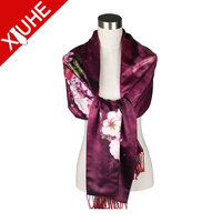 promotional good quality double layers silk scarf Shawl for lady