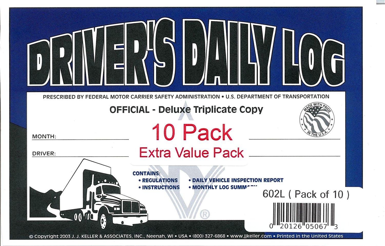 J J  Keller 602L Drivers Daily Log Book with Simplified DVIR, 3-Ply, Book  Format, w/Carbon, w/Recap, 8-1/2 x 5-1/2 - Pack of 10