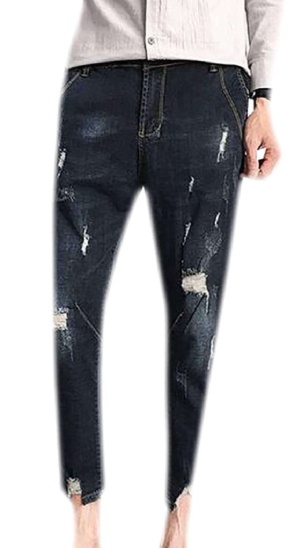 CBTLVSN Womens Harem Destroyed Stylish Denim Destroyed Ripped Hole Overalls Pant Jumpsuits