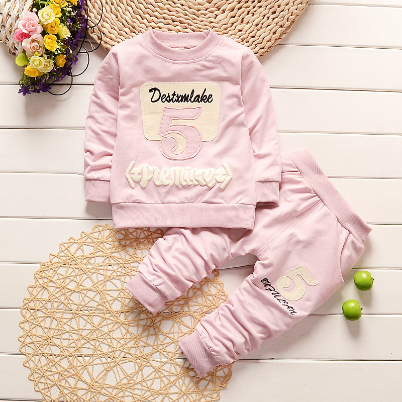 Fashion Letter 5 Baby Boy Girl Kid Autumn Winter Suit Fall Cotton Sport Tracksuit Outdoor Children Clothing Coat Pants set
