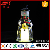 Christmas snowman with candle light decorations