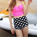 2016 Cute High Waist Swimwear Halter Bathing Suits Bowknot High Waisted Bikini Women Bandage Swimsuit YY71