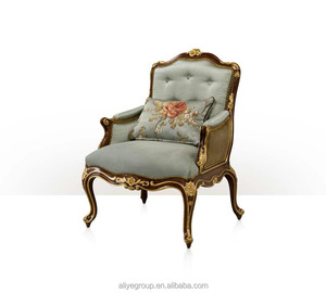 Vintage Style Villa Single Sofa Carved Wooden Living Room Arm Chair Imperial Gold Painted One Seat Sofa Chair-KA94