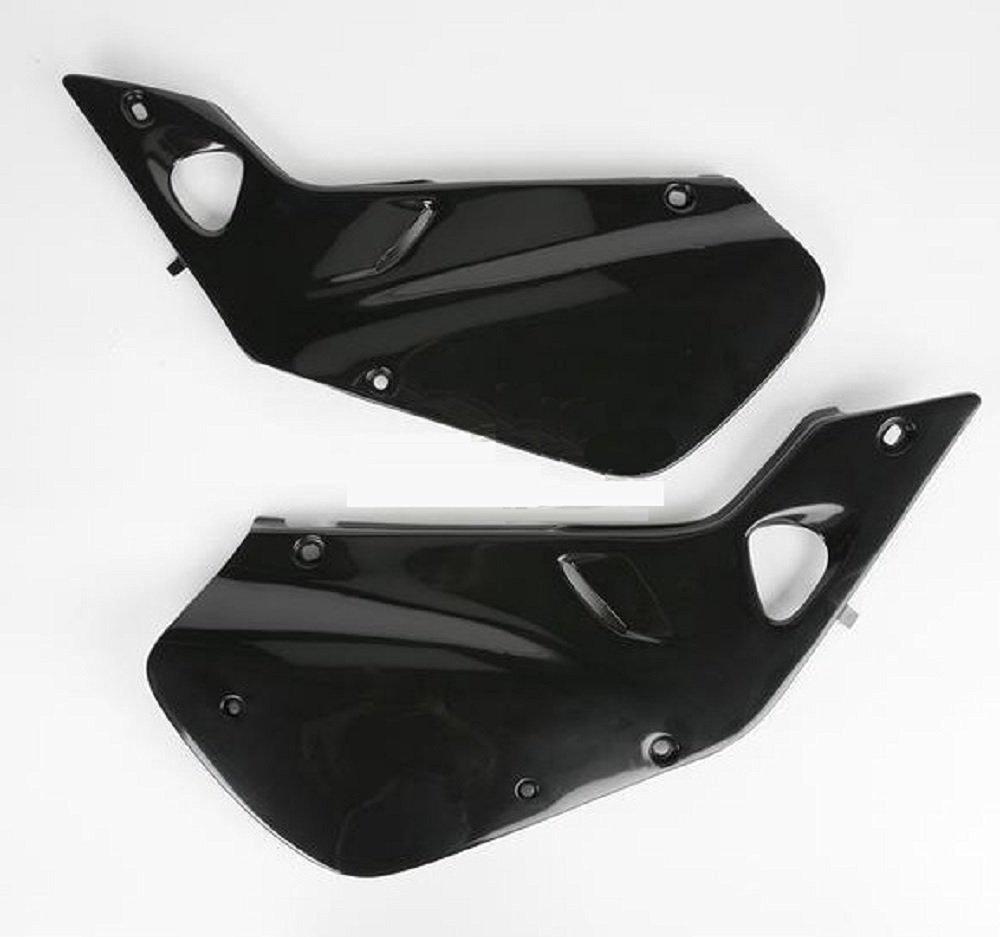 Ufo Black Side Plates and Keepitroostin Sticker Fits Honda Cr250 1997-1999