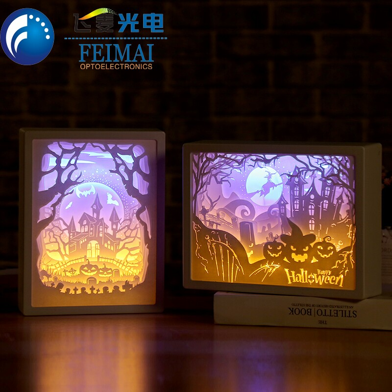 Home Bedroom Table Lamp Night Light 3D Light Shadow Paper Carving Lamp Bedside Photo Frame Night Light