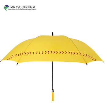 60*8K Yellow AUTO Open Baseball Golf Umbrella Cost With LOGO