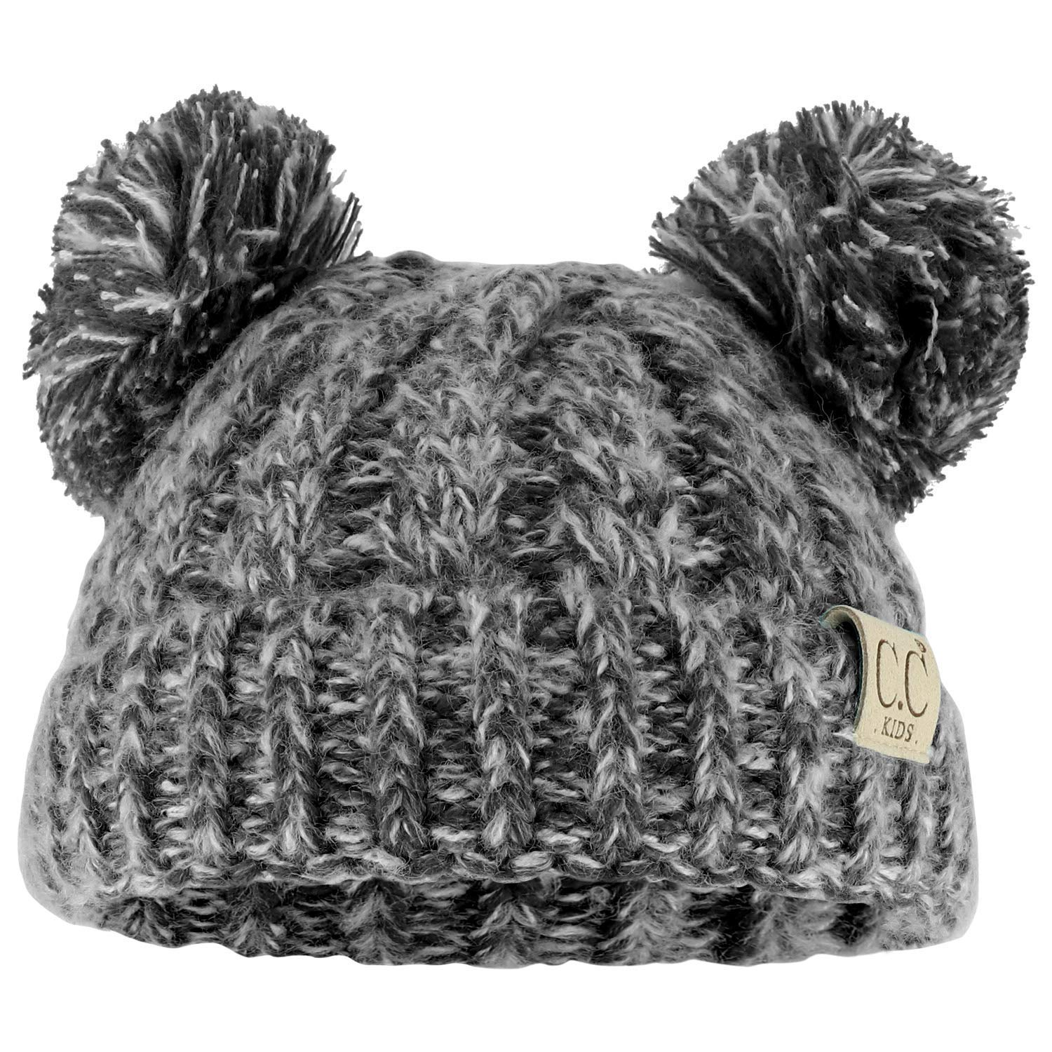 24332887f6d1f Trendy Apparel Shop Kid's Youth Size Winter Cable Knit 2 Pom Poms Beanie Hat