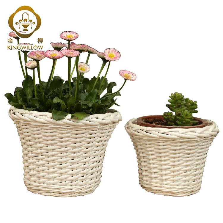 Wholesale handmade white wicker flower pot garden basket