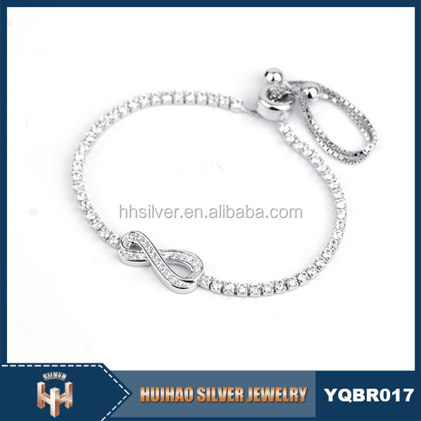 guangzhou fashion jewelry market wholesaleer 925 sterling silver diamond psonalized infinity bracelet
