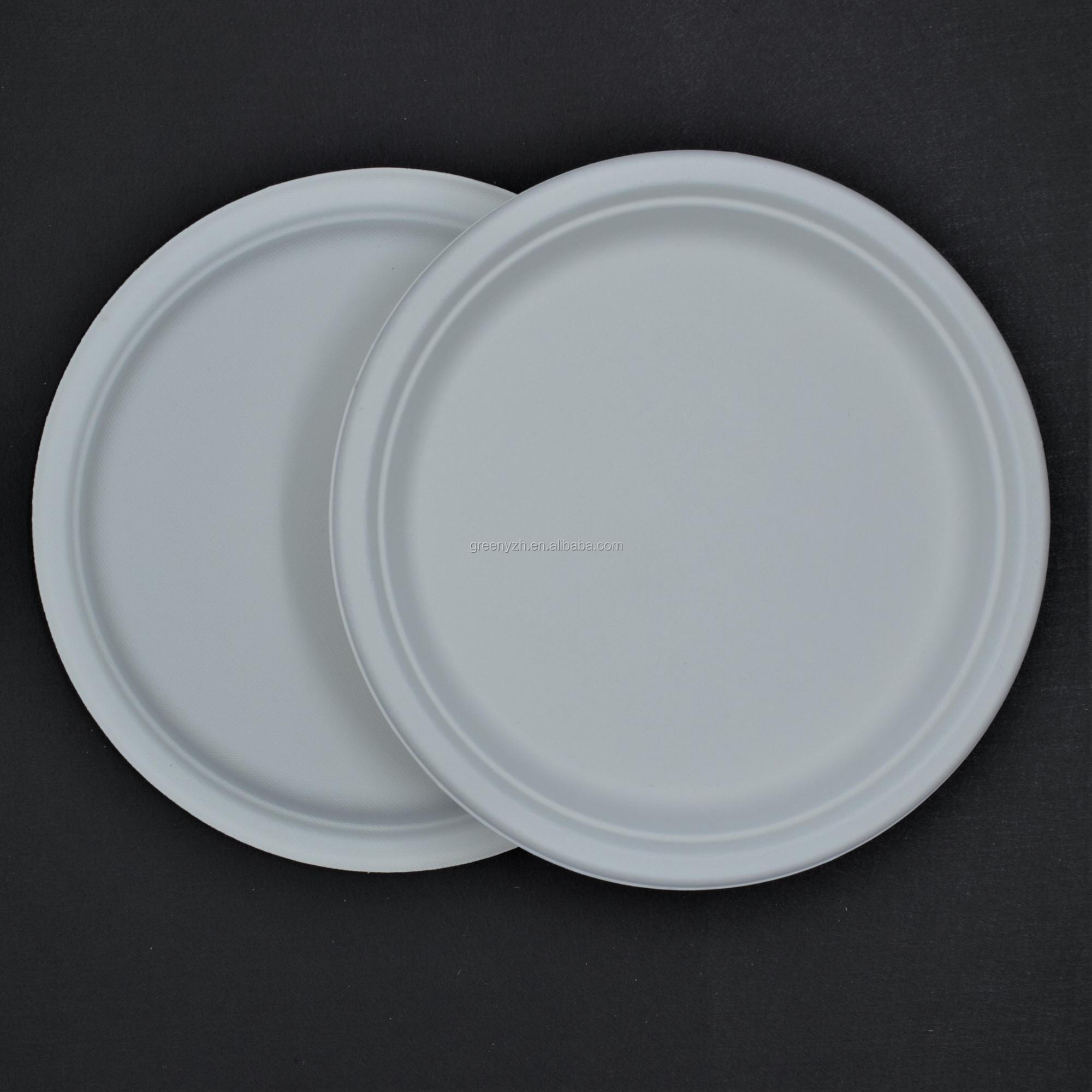 Hot sale 7 inch customized restaurant plates disposable bagasse wedding tableware taper biodegradables
