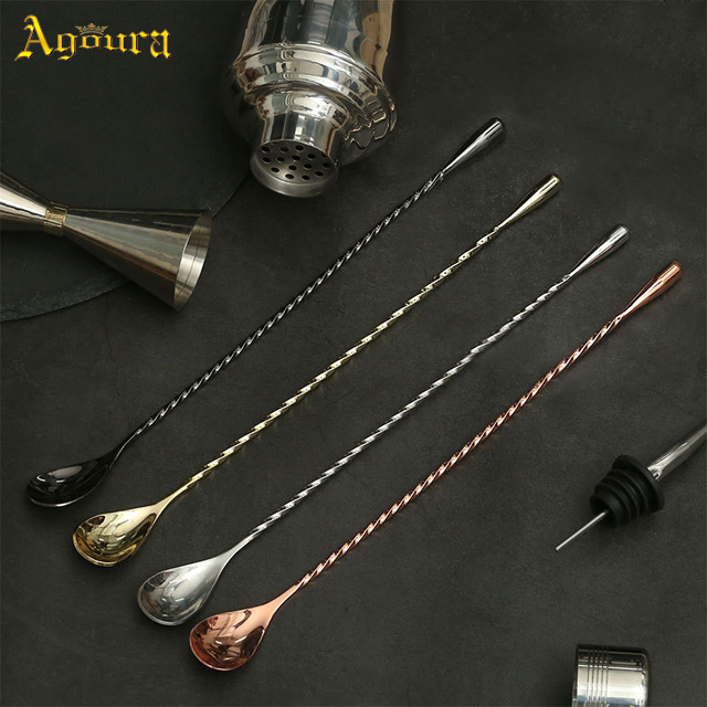 Stainless Steel Fine Thread Bar, Bar Cocktail Mix Spoon, Long Handle Stirring Spoon