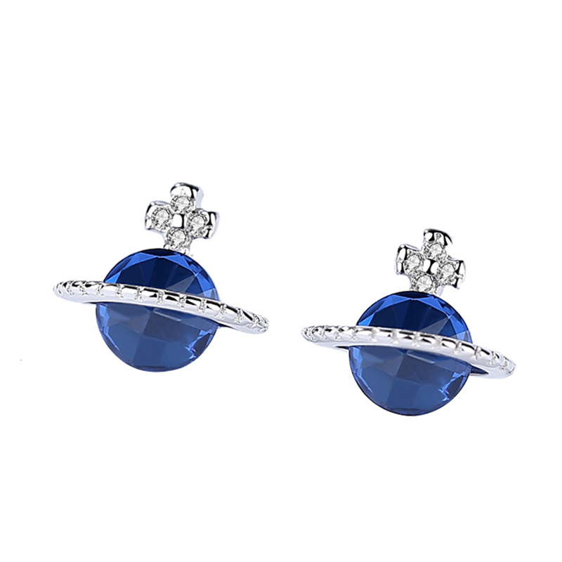 Fashion Sapphire blue cubic zirconia 925 Sterling Silver stud earrings