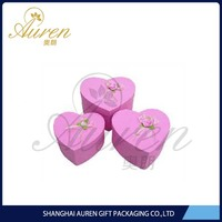 Elegant pink heart shape design paper rigid gift boxes for decorative jewelry pack China wholesale