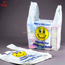 China Suppliers Own Logo Printed Pe Shape Have A Nice Day T Shirt Shopping Bag For Retail Shopping Use