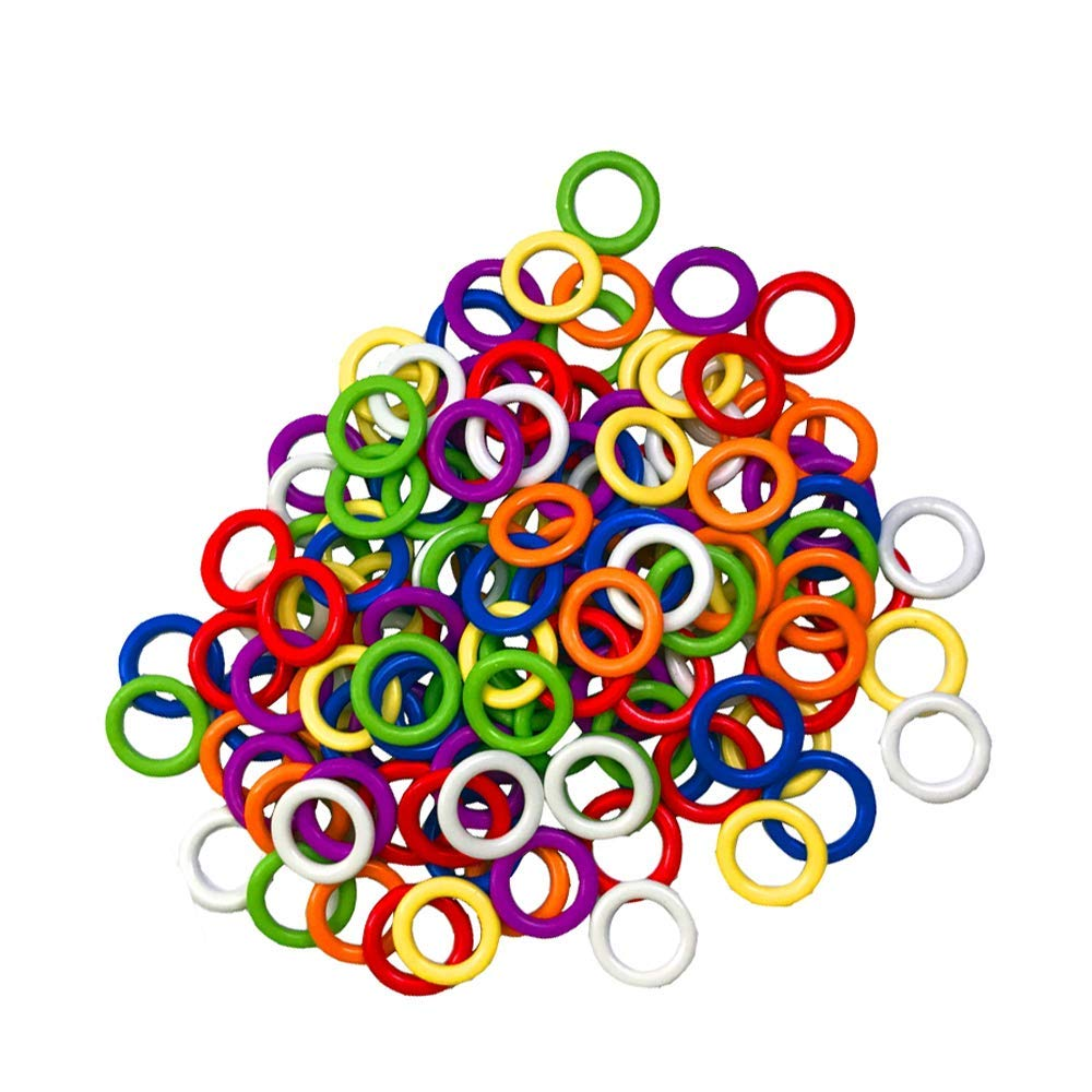(140 Pieces) Colorful Iron O-Rings & Stitch Ring Markers for Knitting/Crochet/etc, (Available in 3 Sizes, Includes 7 Colors, for Knitting/Crochet/etc)(Small Internal Diameter 6mm)